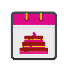 Calendar birthday icon flat style vector