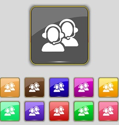 Call center icon sign Set with eleven colored vector
