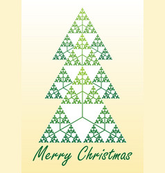 Card with christmas tree composed of fractal vector