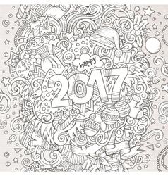Cartoon cute doodles hand drawn New Year vector image