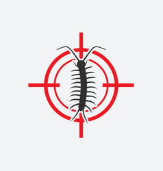 centipede icon red target insect pest control vector image