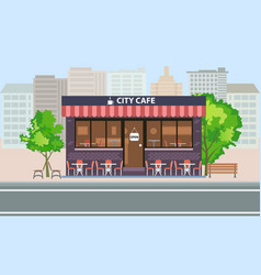 Central cafe building exterior with summer terrace vector