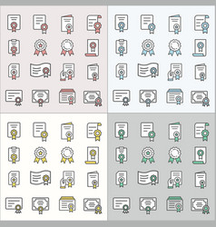 certificate flat line icons for graphic and web vector image