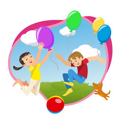 Children playing in the park with balloons vector