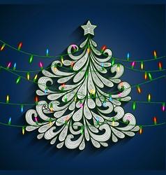 christmas tree with colorful lights vector image