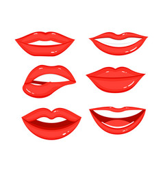 collection of red lips with vector image