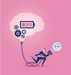 Connection businessman switching on a brain vector