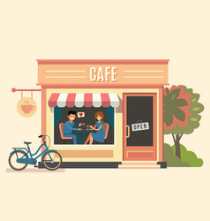 couple sitting in cafe vector image
