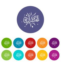 Crash explosion icons set flat vector