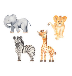 Cute cartoon african animals elephant zebra vector
