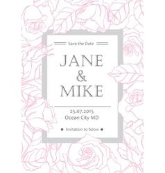 delicate wedding invitation card template vector image