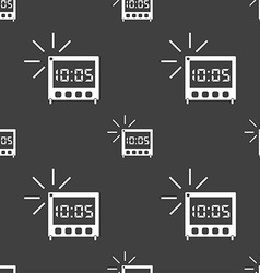 digital Alarm Clock icon sign Seamless pattern on vector image