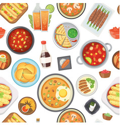 Dinner lunch and fast food seamless pattern vector