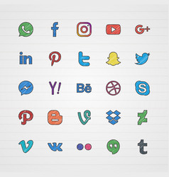 Doodle social media icon set vector