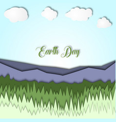 Earth day 3d with landscape of vector