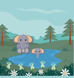 Elephants cute animals cartoons vector