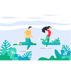 exercise people in the park for a healthy life vector image