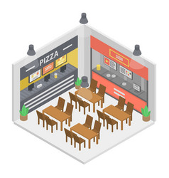 Fast food restaurant room icon isometric style vector