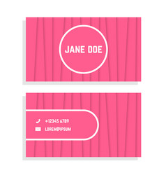 Female business card with pink stripes vector