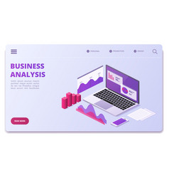 Financial analytics page template business vector