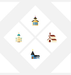 Flat icon building set of christian religion vector
