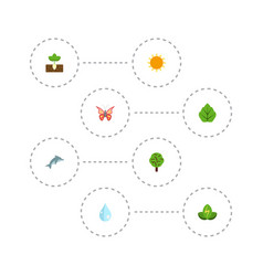 flat icons beauty insect sprout water and other vector image