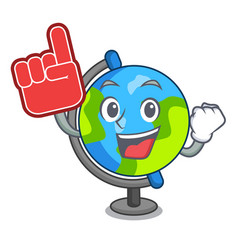 foam finger globe mascot cartoon style vector image