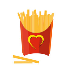 French fries on white background vector