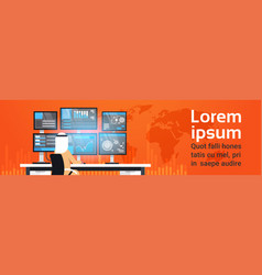 Global online trading concept arab man working vector