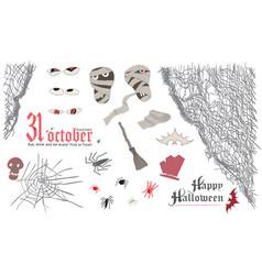 Halloween symbol elemens set skull mummy spider vector