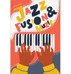 hand drawn colorful jazz fusion music poster vector image