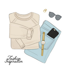 hand drawn fashion elements sweater jeans vector image