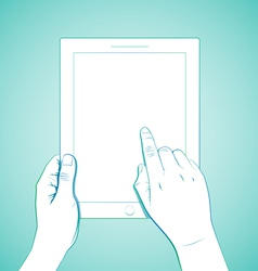 Hand Touching 10 InchTablet vector image