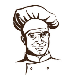 handsome chef wearing hat and uniform hand vector image