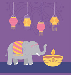 happy diwali festival elephant diya lamp candle vector image