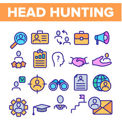 Head hunting service linear icons set vector