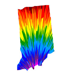 Indiana - map is designed rainbow abstract vector
