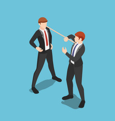 Isometric liar businessman with long nose vector