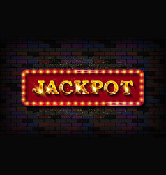 jackpot gold neon light banner vector image