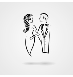 Lady and gentleman hand drawn silhouettes vector
