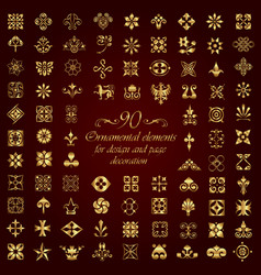 large set of gold ornamental calligraphic elements vector image