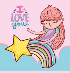 lovely girl cartoon vector image