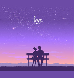 lovers on bench vector image