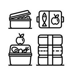 Lunchbox outline icon set 4 vector