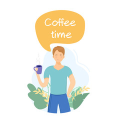 man drinking coffee in park vector image