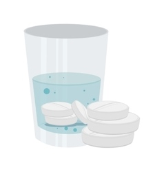 Medicine drugs with water glass isolated icon vector
