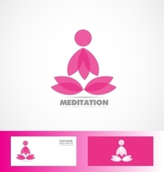 Meditation lotus flower logo yoga icon vector image