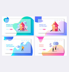 Merger and acquisition landing page template set vector