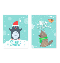 merry christmas let it snow 60s theme postcard vector image