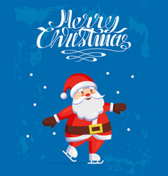 merry christmas santa claus skating on skate rink vector image